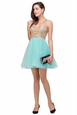 Short Tulle Quinceanera V-Neck Appliques Sleeveless Dama Dresses_10