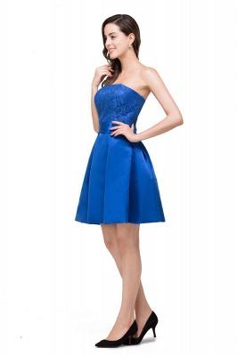 vestidos de dama de honor con apliques | Una línea sin tirantes mini con cordones_5