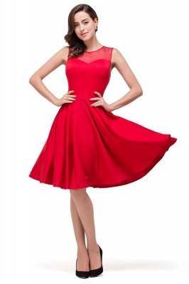 HARMONY | Quinceanera Crew Knee-length Red Dama Dresses_4