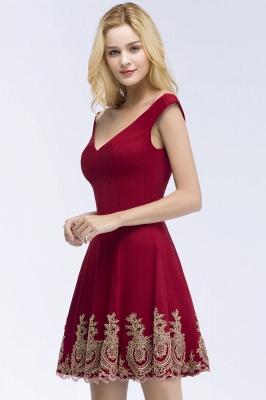 Una línea de escote en V vestidos de fiesta de Borgo_a | corto apliques fuera del hombro_4