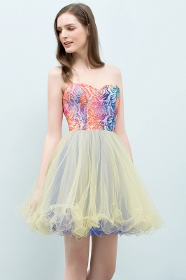 SHONA | Quinceanera Strapless Sweetheart Short Sequined Tulle Dama Dresses_7