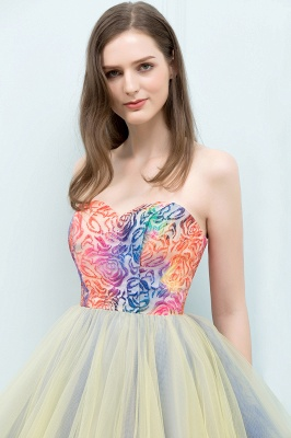 SHONA | Quinceanera Strapless Sweetheart Short Sequined Tulle Dama Dresses_8