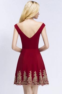 Una línea de escote en V vestidos de fiesta de Borgo_a | corto apliques fuera del hombro_3