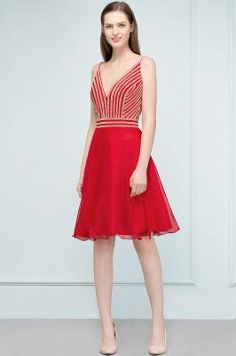 SUZAN | Quinceanera V-neck Spaghetti Short Beading Tulle Dama Dresses_4