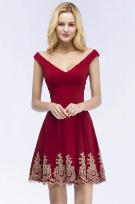 Una línea de escote en V vestidos de fiesta de Borgo_a | corto apliques fuera del hombro_1
