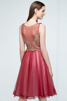 RITA | Quinceanera Sleeveless Knee Length Appliques Tulle Dama Dresses with Beads_6