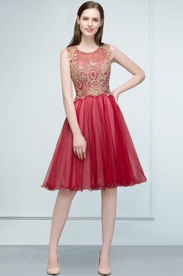 RITA | Quinceanera Sleeveless Knee Length Appliques Tulle Dama Dresses with Beads_5