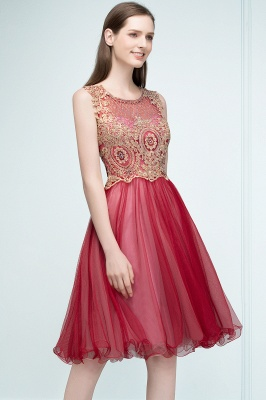 RITA | Quinceanera Sleeveless Knee Length Appliques Tulle Dama Dresses with Beads_7