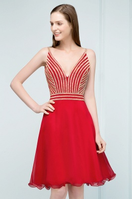 SUZAN | Quinceanera V-neck Spaghetti Short Beading Tulle Dama Dresses_5