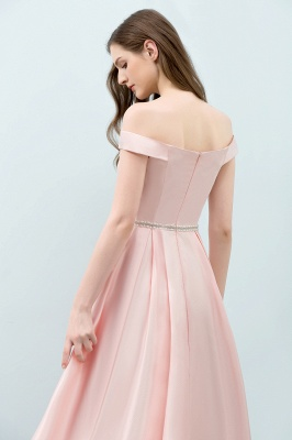 SHEILA | Quinceanera Off-shoulder Tea Length Pink Dama Dresses with Sash_8