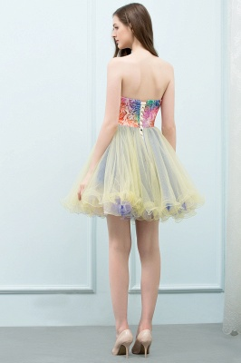 SHONA | Quinceanera Strapless Sweetheart Short Sequined Tulle Dama Dresses_3