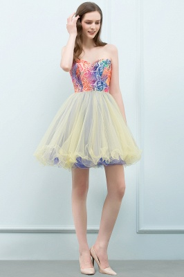 SHONA | Quinceanera Strapless Sweetheart Short Sequined Tulle Dama Dresses_9