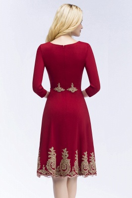 ROSANNA | Quinceanera Knee Length Burgundy Appliques Dama Dresses with Sleeves_3