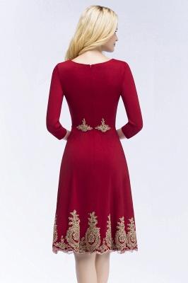 vestidos de regreso a casa con mangas | Una línea de longitud de la rodilla borgo_a apliques_3