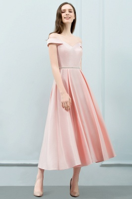 SHEILA | Quinceanera Off-shoulder Tea Length Pink Dama Dresses with Sash_1