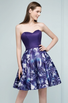 RICARDA | Quinceanera Strapless Sweetheart Short Print Dama Dresses_5