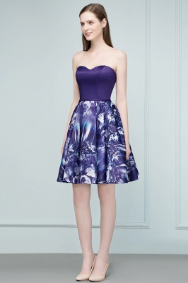 RICARDA | Quinceanera Strapless Sweetheart Short Print Dama Dresses_1