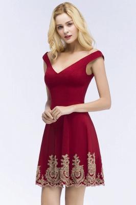 Una línea de escote en V vestidos de fiesta de Borgo_a | corto apliques fuera del hombro_5