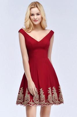 Una línea de escote en V vestidos de fiesta de Borgo_a | corto apliques fuera del hombro_6