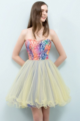SHONA | Quinceanera Strapless Sweetheart Short Sequined Tulle Dama Dresses_5