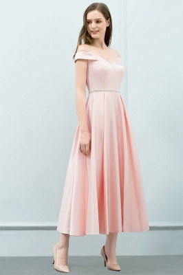 SHEILA | Quinceanera Off-shoulder Tea Length Pink Dama Dresses with Sash_7