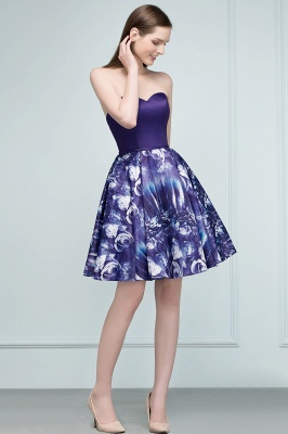 RICARDA | Quinceanera Strapless Sweetheart Short Print Dama Dresses_7