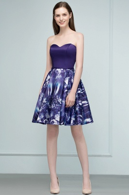 RICARDA | Quinceanera Strapless Sweetheart Short Print Dama Dresses_4