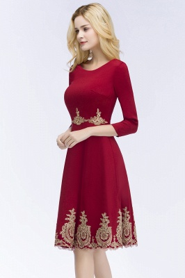 ROSANNA | Quinceanera Knee Length Burgundy Appliques Dama Dresses with Sleeves_5