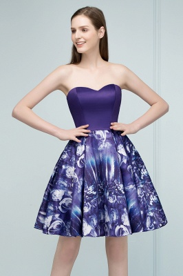 RICARDA | Quinceanera Strapless Sweetheart Short Print Dama Dresses_8
