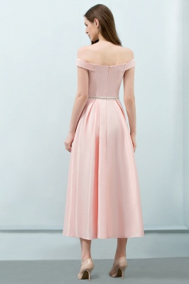 SHEILA | Quinceanera Off-shoulder Tea Length Pink Dama Dresses with Sash_3