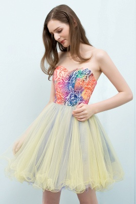 SHONA | Quinceanera Strapless Sweetheart Short Sequined Tulle Dama Dresses_6