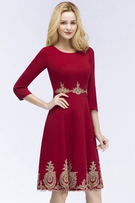 ROSANNA | Quinceanera Knee Length Burgundy Appliques Dama Dresses with Sleeves_8