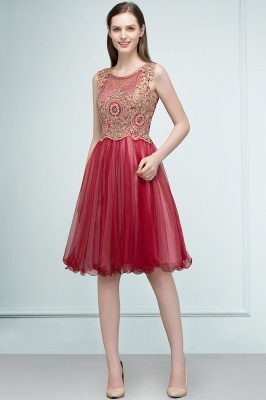 RITA | Quinceanera Sleeveless Knee Length Appliques Tulle Dama Dresses with Beads_3