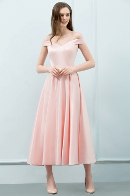 SHEILA | Quinceanera Off-shoulder Tea Length Pink Dama Dresses with Sash_4