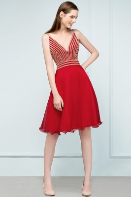 SUZAN | Quinceanera V-neck Spaghetti Short Beading Tulle Dama Dresses_8