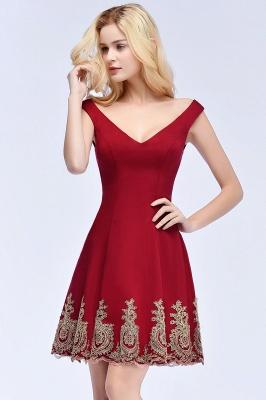 Una línea de escote en V vestidos de fiesta de Borgo_a | corto apliques fuera del hombro_8