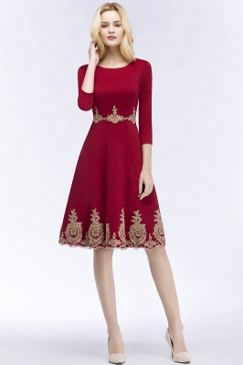 ROSANNA | Quinceanera Knee Length Burgundy Appliques Dama Dresses with Sleeves_7