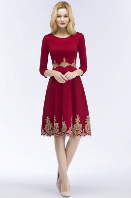 ROSANNA | Quinceanera Knee Length Burgundy Appliques Dama Dresses with Sleeves_6