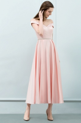 SHEILA | Quinceanera Off-shoulder Tea Length Pink Dama Dresses with Sash_5