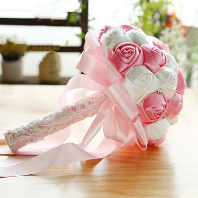 Two Colors Silky Rose Bouquet for Quinceanera_2