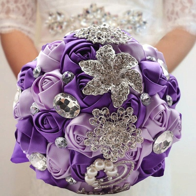 Rainbow Silk Rose Crystal Beading Quinceanera Bouquet_5