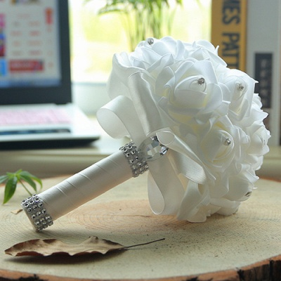 White Silk Quinceanera Bouquet with Rainbow Handles_1