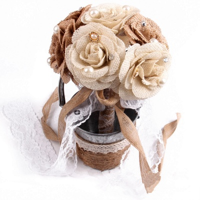 Brown Bouquet for Quinceanera with ribbon strings_1