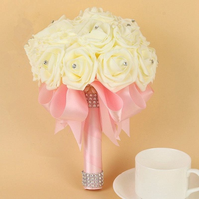 Ivory Silk Beading Rose Quinceanera Bouquet with Rainbow Ribbons_3