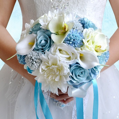 Ramo de novia Artificial de manzanilla y lirio en azul y blanco_5
