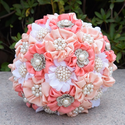 Silk Rose Pearls Quinceanera Bouquet in Three Tune Colors_4