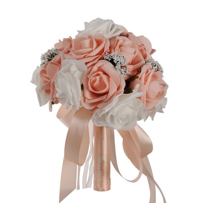 Two Colors Silk Flowers Quinceanera Bouquet with Ribbon_2