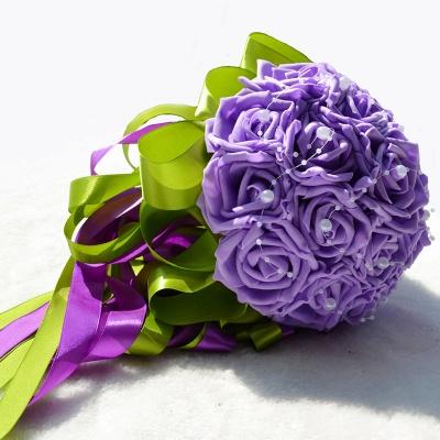 Maravilloso Seda Rose Múltiples colores ramo de la boda_4