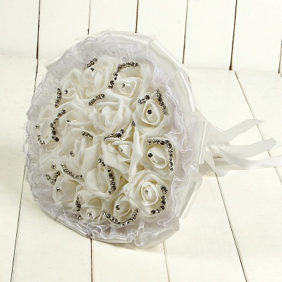 Glitter Crystal Beading Quinceanera Bouquets with Lace_1
