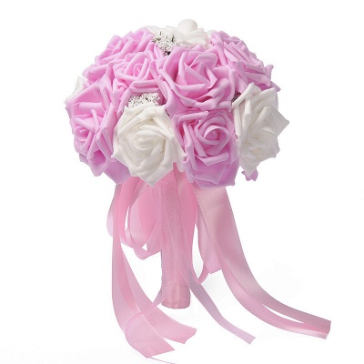 Two Colors Silk Flowers Quinceanera Bouquet with Ribbon_1